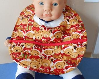Christmas Teddy Bears Baby Bib