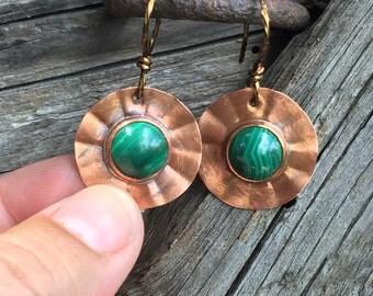 30% discount, Beautiful green malachite stones set in copper, handmade earrings