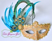 Peacock Feather Masquerade Mask, Turquoise Feathers and Gold Lace Mask or your choice of color...Halloween, Masquerade Ball, Mardi Gras