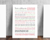 You're My Everything Buble Song Lyrics Print - Colors are Customizable