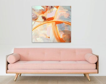 """Large 36"""" x 36"""" Original Abstract Painting - Contemporary Wall Art Decor - eros - love - passion - orange pink red"""