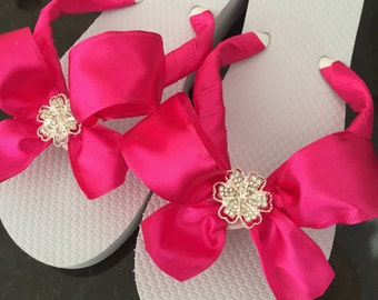 HOT PINK!Bridal Flip Flops /Wedges.Wedding Flip Flops.Beach Weddings.Bridal Shoes. Satin Bridal Shoes.Rhinestone Flip Flops.Weding Shoes.