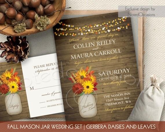 Rustic Mason Jar Wedding Invitations Fall By NotedOccasions