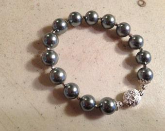 Pearl Bracelet - Gray Jewelry - Sterling Silver Jewelry - Pyrite Gemstone - Beaded - Box Clasp