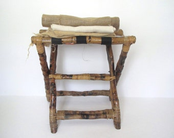 Vintage bamboo luggage rack/ blanket holder
