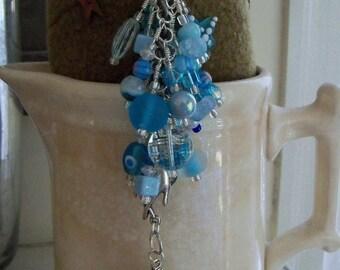 BLUE ICE Beaded purse charm fob key chain zipper pull