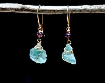 Aquamarine Roman Glass Earrings. Amorphous Earrings. Gold Filled Garnet Roman Glass Earring. Roman Glass Jewelry. Gold Filled Jewelry Israel