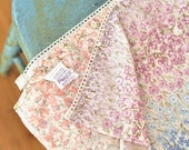 Vintage Full Flat Sheet Linens Size Double Rows of Tiny Flowers on Beige Blue Plum Pink Eyelet Lace Shabby Chic Style Bedding Decor Coastal