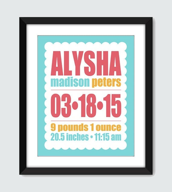 Birth Announcement Wall Art. Personalized Nursery Art. Scallop Frame Birth Announcement Print. 8x10, 5x7 Baby Nursery Custom Wall Poster