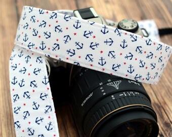 Camera Strap, Camera Accessories, Nikon Camera Strap, Canon Camera Strap, Anchor Camera Strap, Red, White and Blue - dSLR Camera Strap