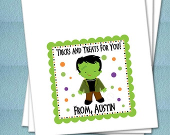 Personalized Halloween Favor Bags - Frankenstein Monster - Party Favor Bags, Class Party Bags, Candy Bags, Trick or Treat Bags