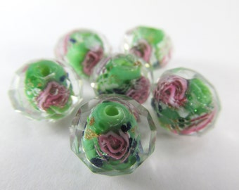 6 Green, Pink, Blue and Clear Faceted Rose Lampwork Glass 12x8mm Rondelle Spacer Beads