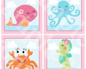 Set of 4 (Under the Sea/Pink Whale) Wood Plaques Nursery Decor Wall Art So Cute