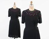 40s SEQUIN Crepe DRESS / Vintage 1940s Black Rayon & Magenta Pink Sequin Party Dress M