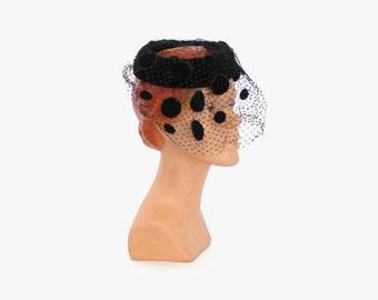 50s VELVET Circlet HAT with Polka Dot VEIL / 1950s Black Veiled Statement Hat