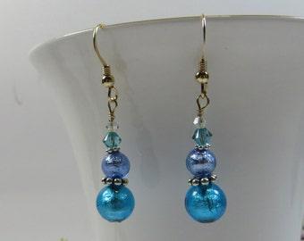 Murano Glass Earrings, Silverfoil Inside Venetian Bead Earrings w Swarovski, 14KT Goldfill & Sterling Silver. Blue Green Venetian Earrings