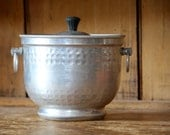 Vintage Aluminum Ice Bucket / Hammered Etched / An Admiration Product N.Y. Made in Italy