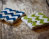 Chevron Coasters Set of 2 - Your Choice Custom Colors, Natural Tumbled Marble, Hand Painted Home Decor