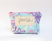 Personalized Makeup Bag, Baby Shower Hostess Gift, Stitched Calligraphy Word or Name Inscription MADE TO ORDER by MamaBleuDesigns