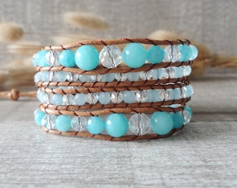 Beaded Wrap Bracelet Ocean Blue beaded Leather Wrap Bracelet Boho Style Bracelet 5 Wrap Bracelet 12051I
