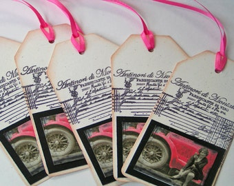 Gift Tags Vintage Red Car Set of 5