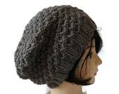 Womens Chunky Knit Floppy Hat, Grey Handknit Beanie, Winter Hat