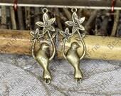 6pcs Antique Brass Filigree Jewelry Connectors Setting,Connector Findings,Filigree Findings,Filigree