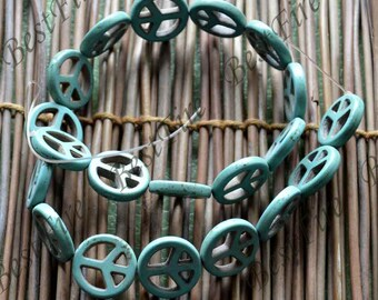 15inch 15mm Single blue peace symbol turquoise gemstone beads,Turquoise nugget jewelry, Gemstone Bead loose beads,turquoise findings beads