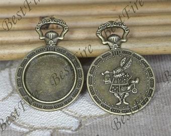 5 pcs of  Antique Bronze Rabbit round Cabochon Pendant Base (Fit Cabochon 20mm),Pendant findings,findings