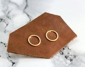open circle earrings, gold, minimal, minimalistic