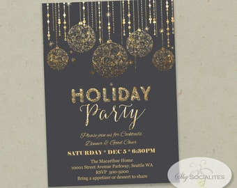 Holiday Gold Glitter Ornaments Invitation |  Instant Download