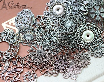 100pcs Mix Assortment Antiqued Silver plated rew brass Filigree Jewelry Connectors Setting Cab Base Connector Finding(FILIG-AS-MIXSS)
