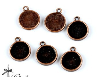 10Pcs 12mm  Antique Red Copper 12mm Round Cameo Base Setting Charm / Pendant  (SETHY-251)