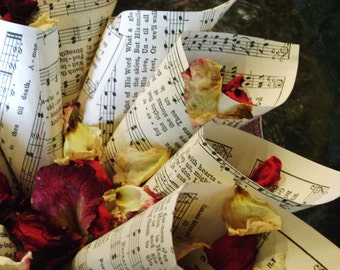 50 vintage recycled hymnal sheet music paper cones wedding confetti toss petals potpourri junk decor