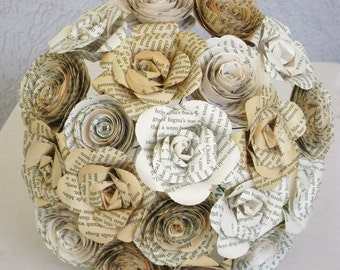 recycled book page bridal bouquet tea stained sepia ivory paper roses and spiral rolled roses alternative everlasting
