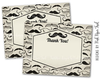 Mustache Party Thank You Card, Mustache Bash, Hipster Party, Thank You Card, Instant Download, Print Your Own