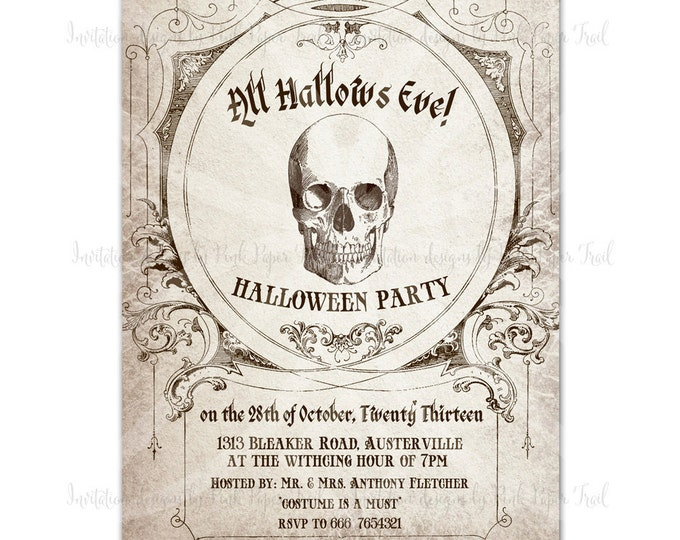 Halloween Invitation v.2, All Hallows Eve, I will customize for you, Printable Invitation