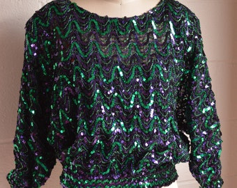 1980s Sequin Top Short Sequin Blouse Sheer Fabric with Attached Tank Top Blue and Green Zig Zag Stripe Batwing Sleeve Size  Medium