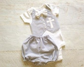 Personalized Grey Seersucker Baptism, Christening, and Dedication Outfit with Removable Bow Tie (With Diaper Cover or Shorts)