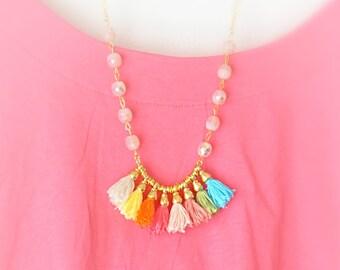 Tassel Necklace - Bib Beaded Necklace - Long Necklace - Long Tassel Necklace - Tassel Jewelry - Free Shipping - Gift Box