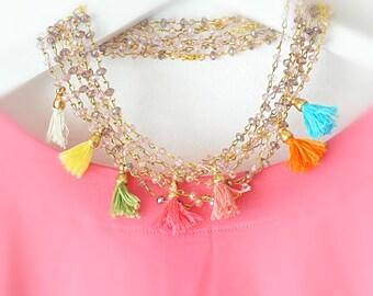 Boho Beaded Necklace - Statement Tassel Necklace - Statement Necklace - Fridge Necklace -  Boho Necklace - Bridal Necklace - Bridal Jewelry