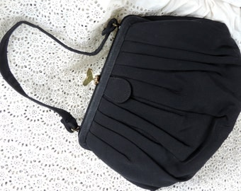 Morris Moskowitz MM Vintage Handbag 1940's Free Shipping Black Fabric Top Handle Bag with Coin Purse Attached by Chain Like New