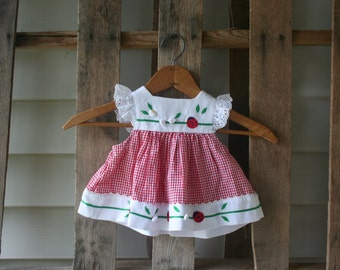 SALE! Vintage Red & White Gingham Lady Bug Dress Size 3-6 Months