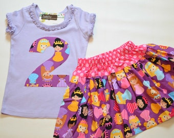 FLAW Girls 2nd Birthday Outfit, Purple Princess Party, Applique Number 2 Tshirt, Twirly Skirt, Pink and Purple, Ready to Ship, 2T Small Flaw