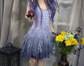 Purple ombre tattered lace dress