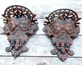 Pair Angel Oil Lamp or Plant Wall Holders Heavy Cast Iron