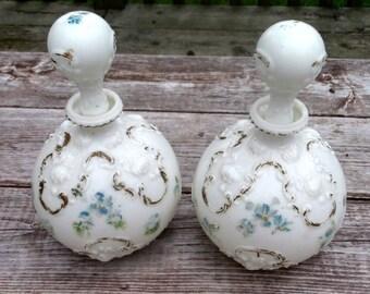 Pair Victorian Perfume Water Decanters for  Ladies Vanity