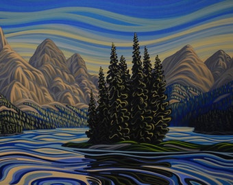 Spirit Island, 8X10, Art Print, Canadian Artist, Ready To Frame, Landscape Painting, reproduction