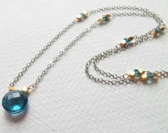 SALE AAA London Blue Topaz Gemstone Mixed Metal Wire Wrapped Necklace with Gold Fill and Oxidized Sterling Silver