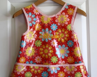 Criss Cross Back Long Girls Art Smock Art Apron in Red with Flowers